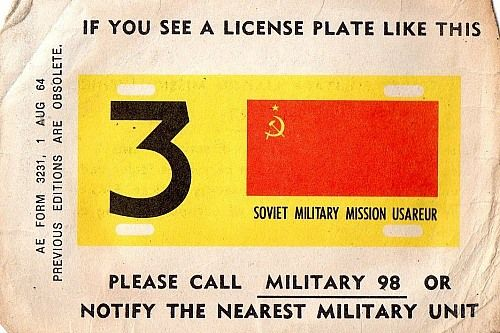 License Plate form the Soviet Military Mission