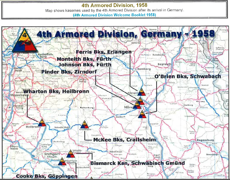 Map Of Th Armored Division Locations In Germany Michael - Germany map erlangen