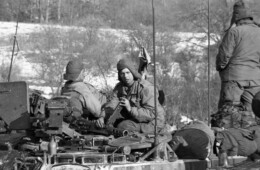 Armored troops on the Iron Curtain during the winter