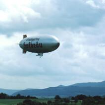 The Stuttgarter Blimp flies over the German American celebration