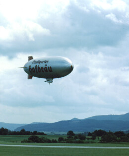 The Stuttgarter Blimp flies over the German American celebration