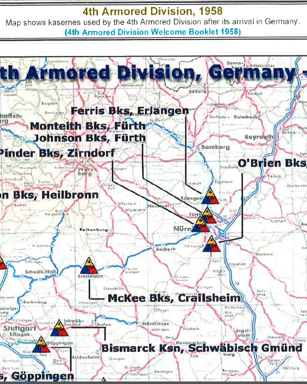 1958 Map of 4th Armored Division Locations in Germany