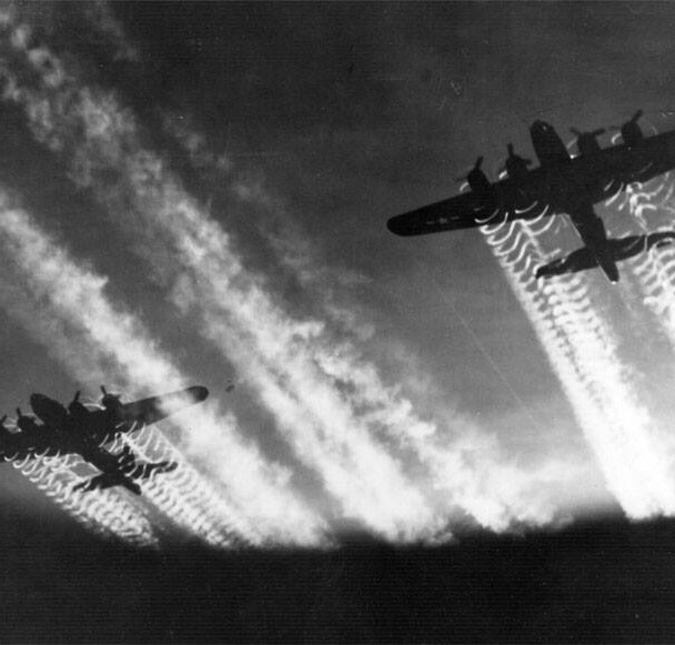 B-17 Flying Fortress takes off to bomb Germany