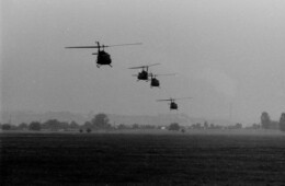 Choppers landing at the Cooke Barracks Flugplatz
