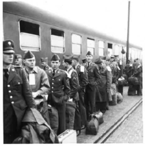 Troops waiting to board the train to Stuttgart