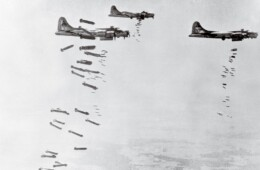 B-17's dropping bombs over Germany during WWII